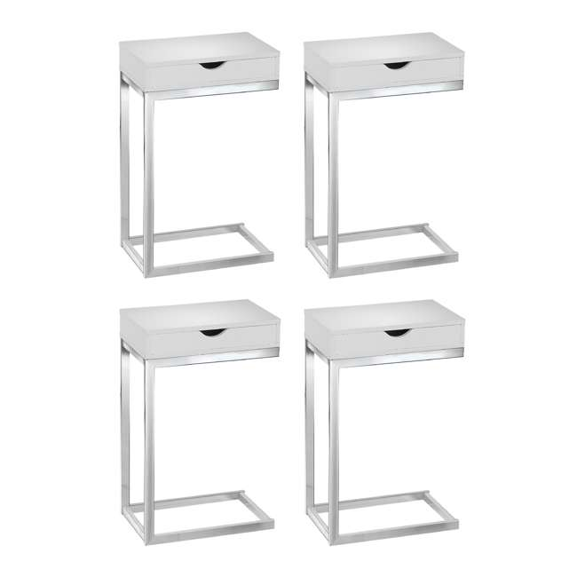 4 x MS-VM3031 Monarch Specialties Accent End Table with Drawer, Glossy White (4 Pack)