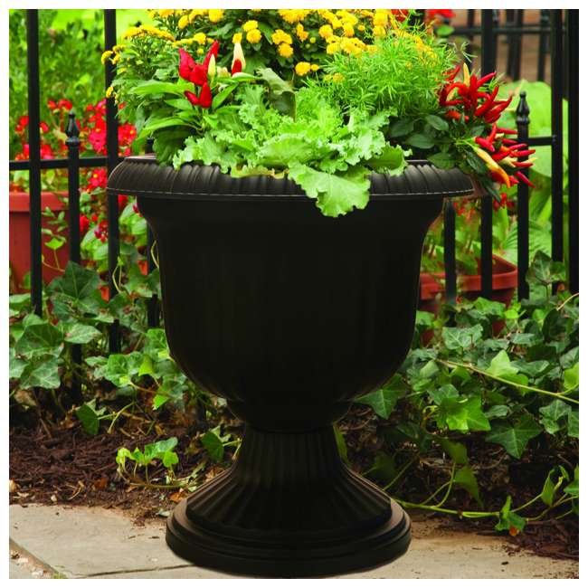 SPAT-UU1412BK Southern Patio Large 14 In Outdoor Lightweight Resin Utopian Urn Planter, Black 1