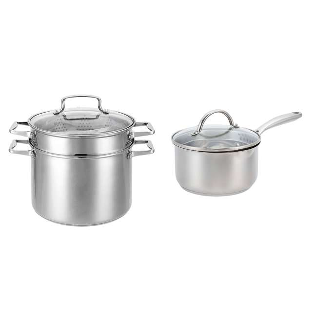 HBO601 + HBL101 Hamilton Beach 8.5 Quart 4 Piece Stock Pot Set + 2.5 Quart Sauce Pan & Lid