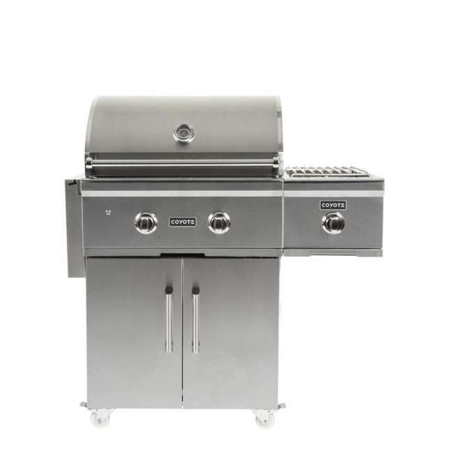 C1C28NG-FS Coyote Outdoor 28 Inch 2 Burner Freestanding Portable Natural Gas Grill, Silver