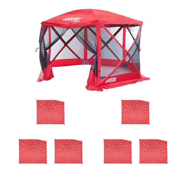 CLAM-ESS-14202 + 2 x CLAM-WP-ESS-14204 Clam Quick Set Tailgating Shelter + Wind & Sun Panels (6 pack)