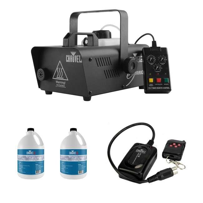 H1600 + 2 x FJU + FC-W CHAUVET DJ Hurricane 1600 Fog Machine + Fog Juice (2 Pack) + Wireless Remote