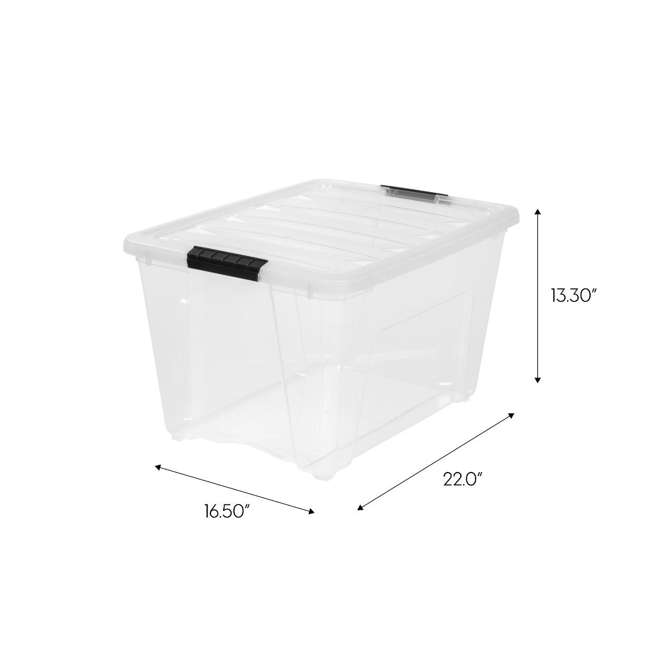 588335-3PK IRIS 53 Qt Stack & Pull Storage Lidded Container Box Bin System, Clear (3 Count) 9