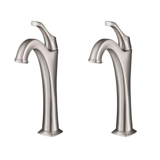 KVF-1200SFS Kraus Arlo Single Handle Vessel Bathroom Faucet, Stainless Steel (2 Pack)