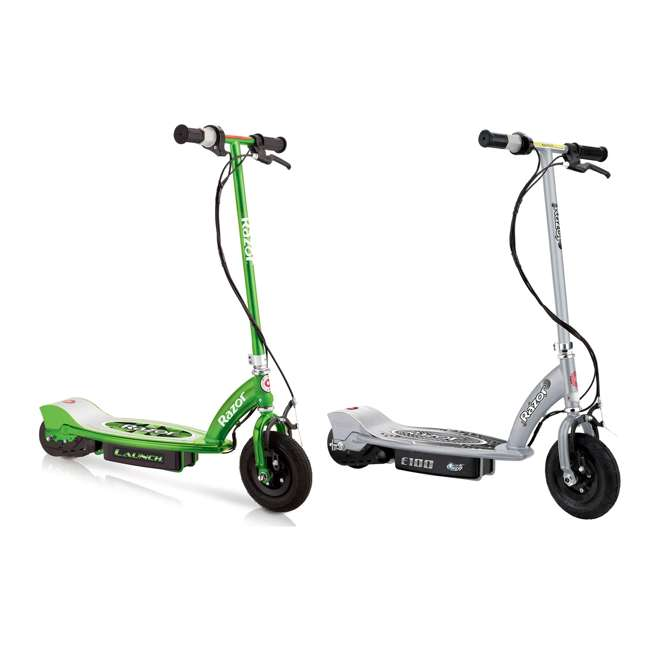 13111230 + 13181112 Razor E100 24 Volt Electric Powered Ride On Scooter, Green & Silver (2 Scooters)