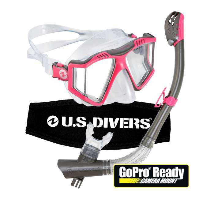 253613 U.S. Divers Lux Mask Snorkel Combo w/ Mount Compatible with GoPro Cameras, Pink