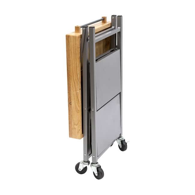 RBT-02 Origami Foldable Wheeled Kitchen Island Cart, Silver 2