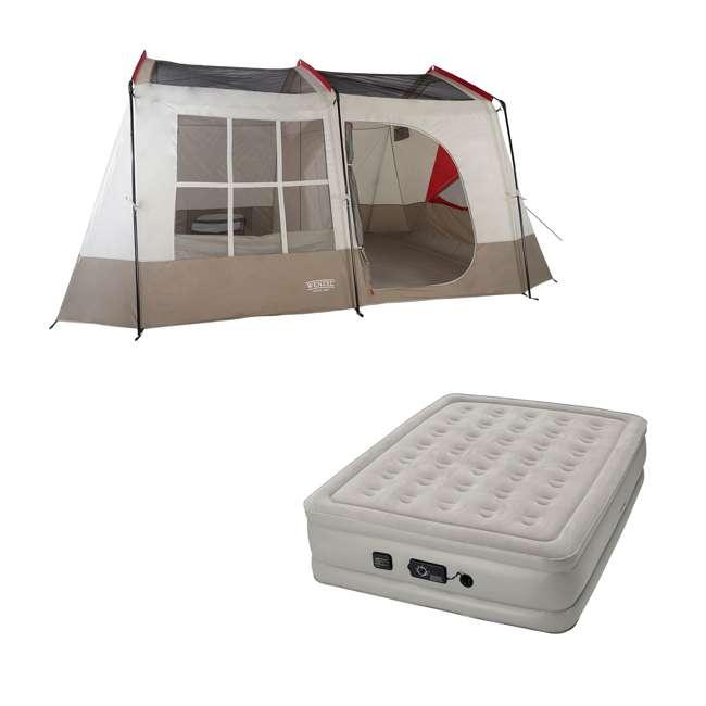36423R + 840017G Wenzel Kodiak 9-Person Camping Tent w/ Insta-Bed Queen Mattress