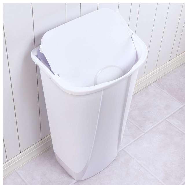 6 x 10938006 Sterilite 11 Gallon SwingTop White Wastebasket, 6 Pack (6 Pack) 3
