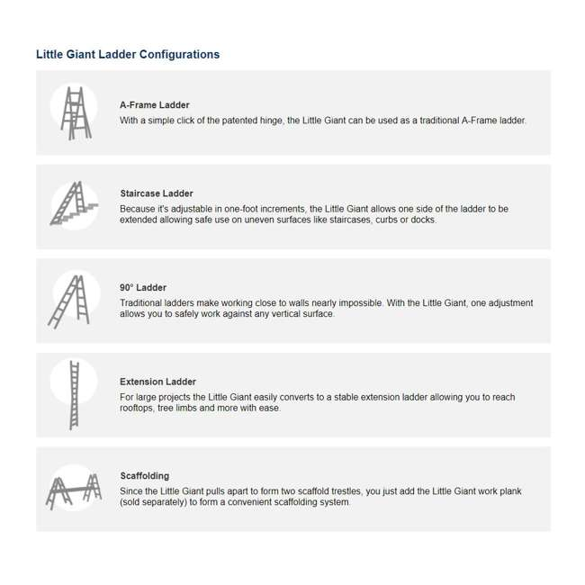 14317-001 + 15040-001 Little Giant Ladder Systems 17-Foot Aluminum Multi-Position Ladder & Tool Pouch 10