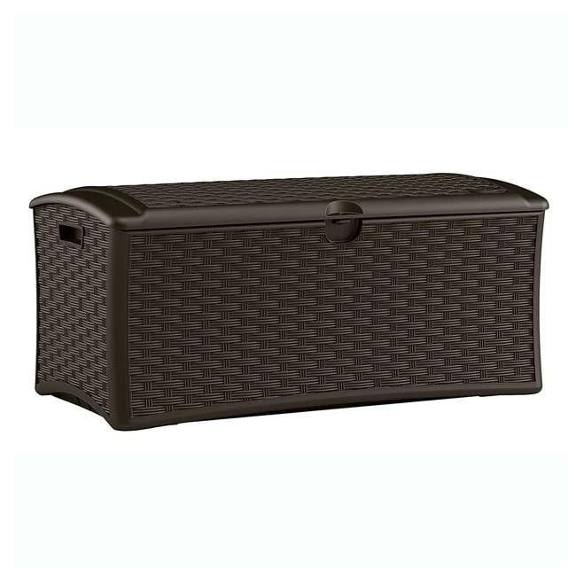 12 x DBW7000 Suncast 72-Gallon Capacity Resin Wicker Patio Storage Box, Brown (12 Pack)