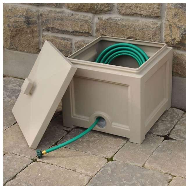 MO-5858-C Mayne Fairfield Plastic Outdoor 100 Foot Garden Water Hose Storage Box Bin, Clay 1