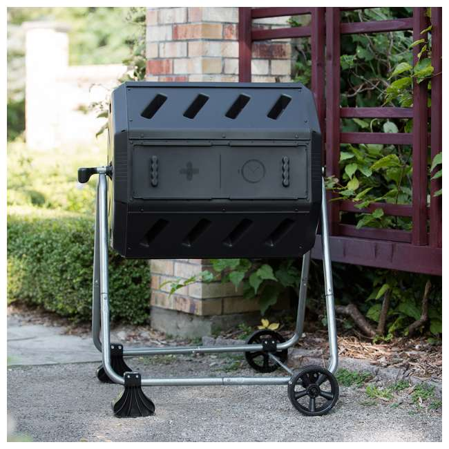 IM4000-WK FCMP Outdoor IM4000-WK 37 Gallon Dual Chamber Quick Curing Rotating Tumbling Composter Bin 2