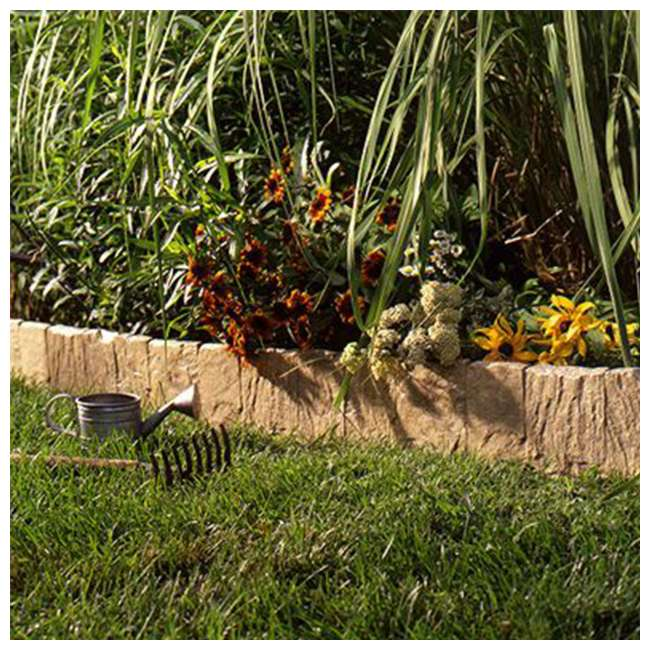 8 x CPLFSE10LT Suncast Landscape Design Border Decorative Natural Rock Plastic Edging (8 Pack) 1