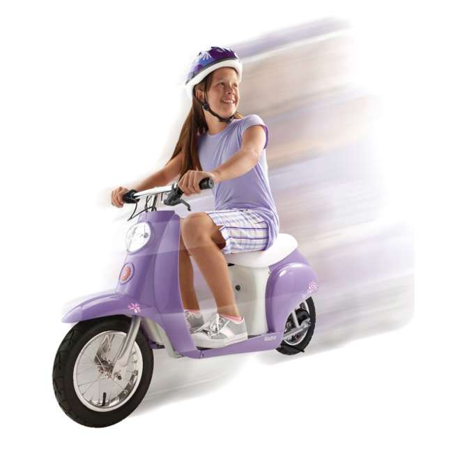 15130661 + 97783 Razor Pocket Mod Electric Retro Scooter, Purple & Helmet 3
