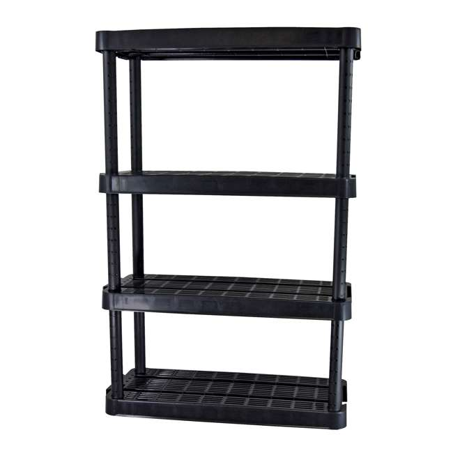 3 x GL91074MAXIT-1C Gracious Living 4-Tier Resin Garage Storage Shelf, Black (3 Pack) 1