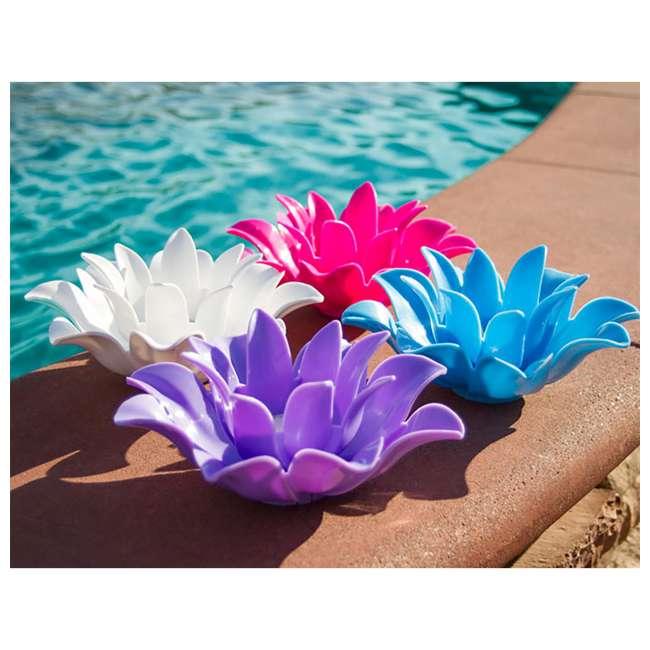 54513-U-B Poolmaster 9.75 Inch Floating Lotus Blooms Flower Pool Lights (4 Pack) (Used) 3