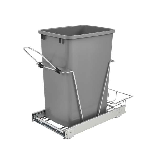 RV-12KD-17C S-30 Rev-A-Shelf RV-12KD-17C S 35 Quart Pull Out Waste Container with Basket, Silver