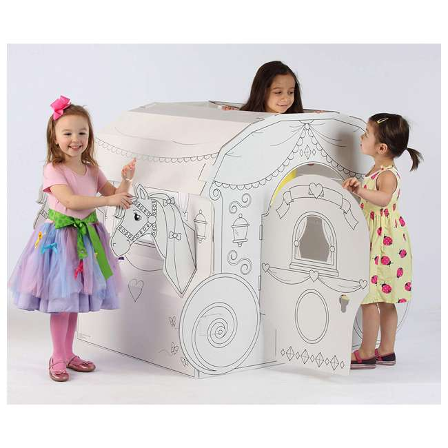 PC5536R My Very Own House Life-Size Coloring Playhouse Princess Carriage w/ 8 Markers 4