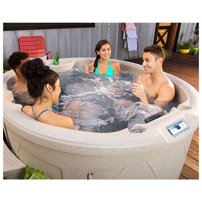 LS200DX LifeSmart Key Largo DLX 4 Person Oval 20 Jet Plug and Play Hot Tub Spa, Sand 3