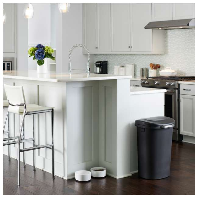1843027 Rubbermaid Touch Top 13 Gallon Plastic Wastebasket Trash Can w/ Lid & Liner Lock 4