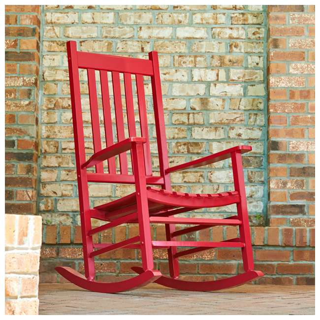 SHN-4332CP Shine Company Vermont Hardwood Outdoor Porch Patio Rocker Chair, Chili Pepper 5