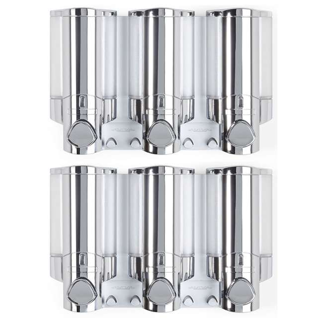 76345-1 Better Living Products 3 Chamber Adhesive Shower Dispenser, Chrome (2 Pack)