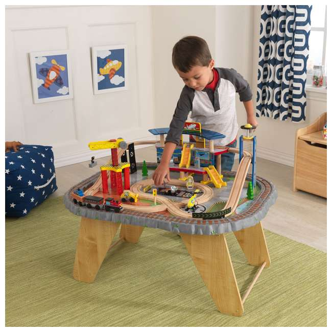 Kidkraft 58 Piece Transportation Station Wood Train Set