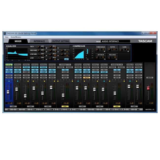 tascam us 16x08 audio midi recording interface w daw software us 16x08. Black Bedroom Furniture Sets. Home Design Ideas