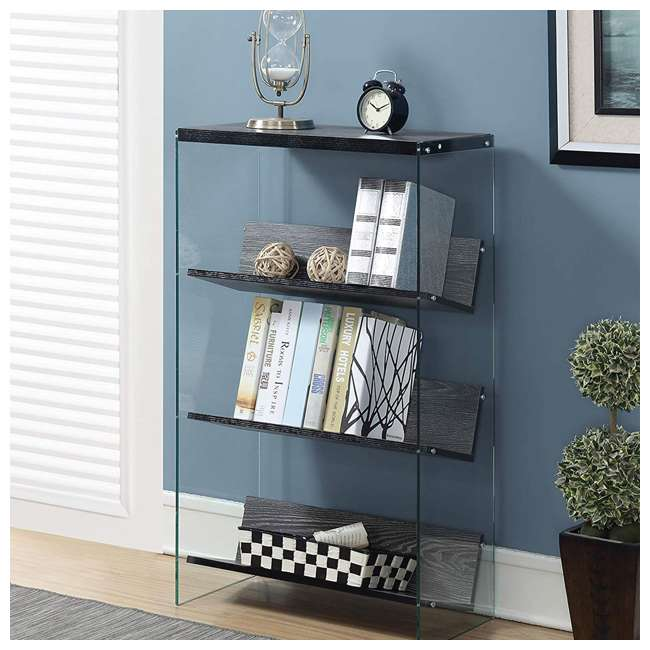 R4-0335 Convenience Concepts SoHo 4-Tier Bookcase, Weathered Gray/Glass 4