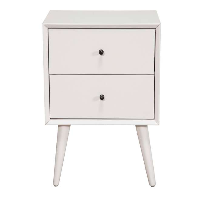 966-W-02  Alpine Furniture 966-W-02 Flynn Mid Century Modern Bedside Nightstand, White