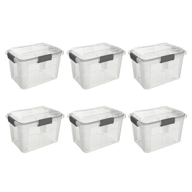 6 x FBA32225 Ezy Storage Weather Proof IP65 18 Liter Plastic Storage Container w/Lid (6 Pack)