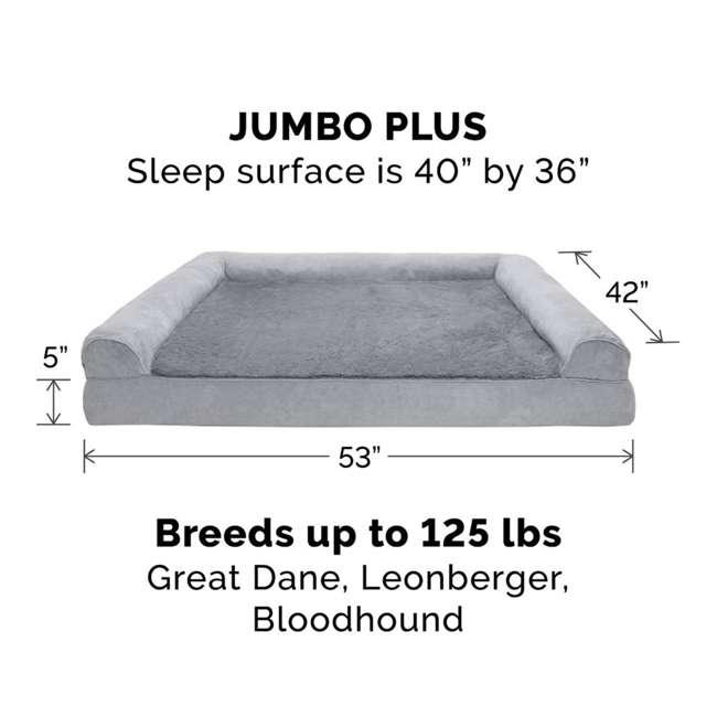 45636087 Furhaven Orthopedic Foam Ultra Plush & Suede Sofa Dog Bed, Gray, Jumbo Plus 2