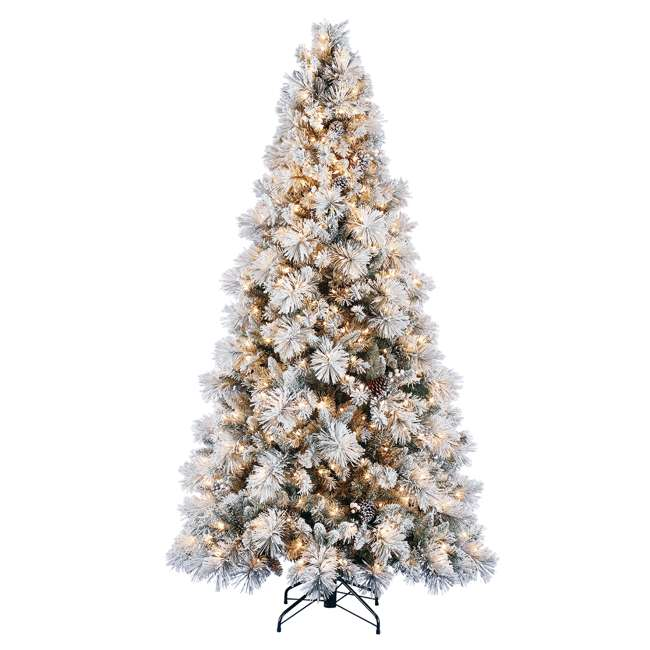 TG76M4E42S20 + GX1623U22F27 Home Heritage Snowdrift Spruce 7.5' Pre Lit Christmas Tree with Rotating Stand 1