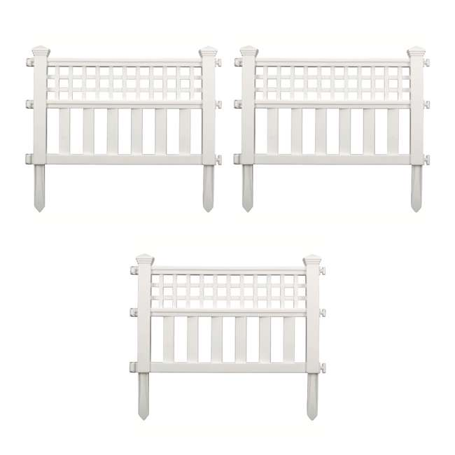 GVF243PK Suncast Grand View 14.5 x 24 Inch Resin Yard Garden Border Fence, White (3 Pack)
