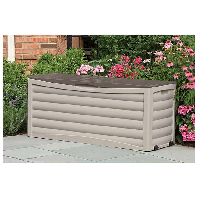 3 x DB10300 Suncast 103 Gallon Capacity Resin Outdoor Patio Storage Deck Box, Taupe (3 Pack) 2