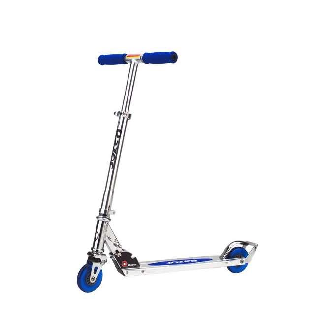 13003A2-CL + 13003A2-BL Razor A2 Kids Folding Aluminum 2 pack Kick Scooter w/ Wheelie Bar, Blue & Clear 6