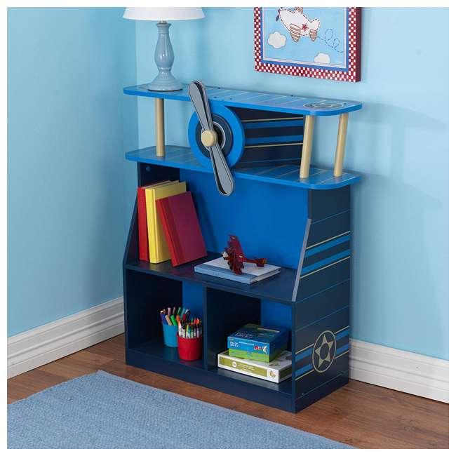 76270 KidKraft Toddler Kids Airplane Wooden 4 Shelf Book/Toy Bookshelf Bookcase, Blue 1