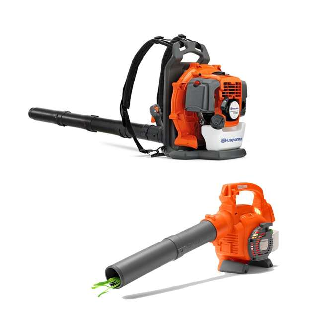 HV-BL-965102208 + HV-TOY-589746401 Husqvarna 130BT 29.5CC Gas Leaf Backpack Blower and Kids Toddler Toy Leaf Blower
