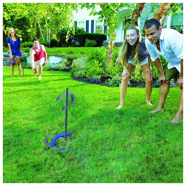 50021 Franklin Sports 50021 Family Horseshoes Steel Yard Lawn Game Set, Blue/Gray 2