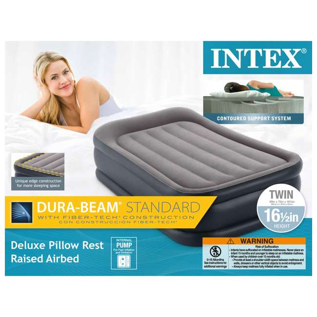 64131EP-U-A Intex Deluxe Pillow Rest Raised Airbed w/ Built in Pump, Twin(Open Box) (2 Pack) 5