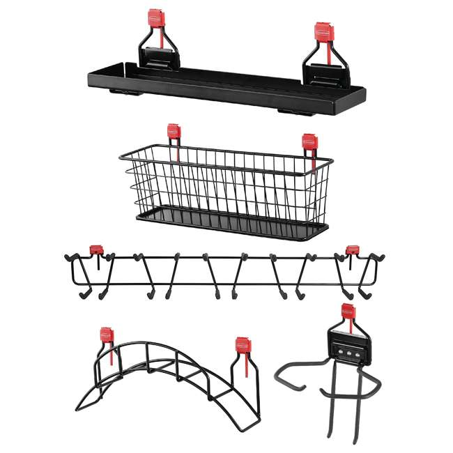 "Rubbermaid Shed Accessory Pack Rubbermaid Shed Shelf, Wire Basket, 34"" Tool Rack, Power Tool & Hose Holder"