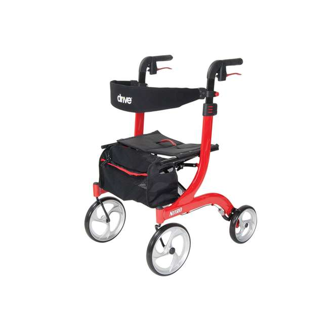 RTL10266-T Drive Medical Nitro Euro Style Tall Height Rollator Walker, Red 2
