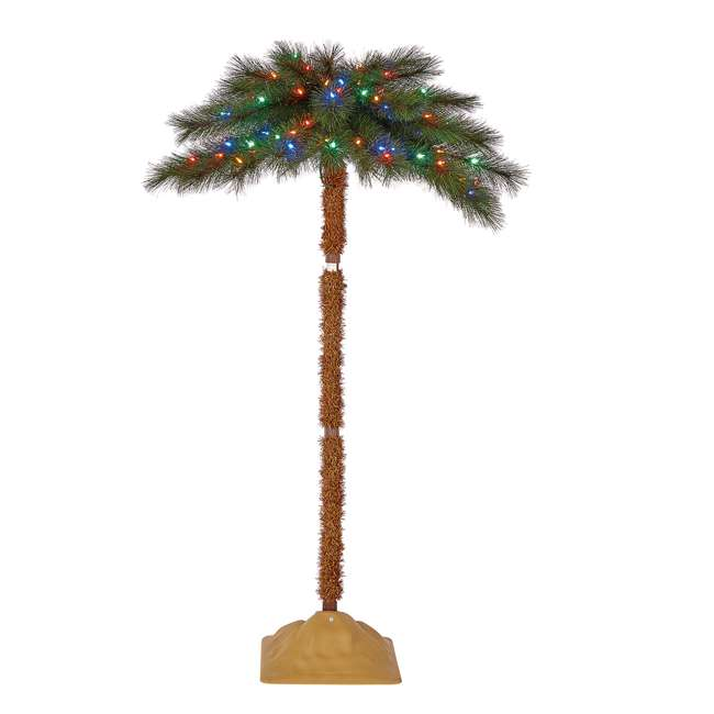 TG50ON041P03 Home Heritage 5 Foot Christmas Fake Palm Tree Prelit with Multi Color LED Lights