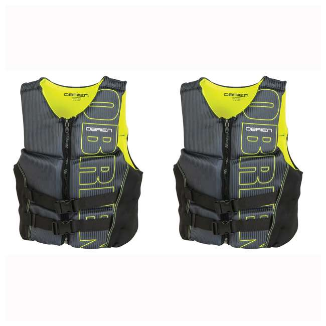 2161785-MW OBrien BioLite Series Men's Flex V Back Life Vest Size M, Yellow (2 Pack)