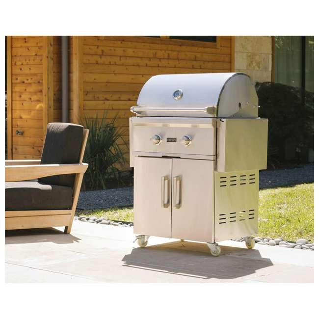 C1C28NG-FS Coyote Outdoor 28 Inch 2 Burner Freestanding Portable Natural Gas Grill, Silver 1
