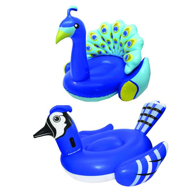 SL-90720M + 90705 Inflatable Blue Jay Ride On Float Bundled w/ Inflatable Peacock Giant Pool Float