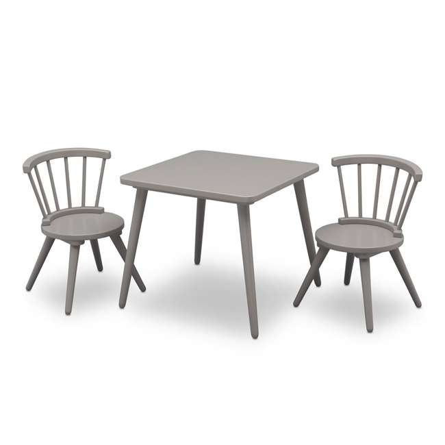 531300-026-U-A Delta Children Windsor Home Dining Table and 2 Chair Play Set, Grey (Open Box)