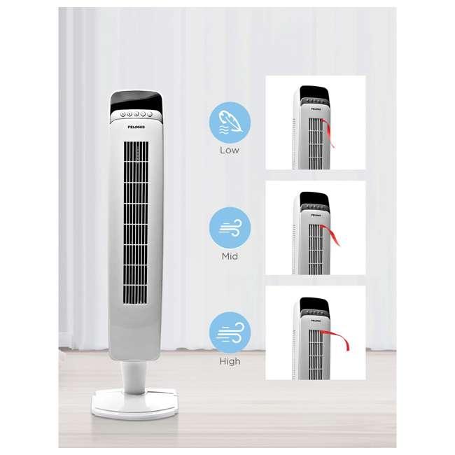 "FZ10-10JRH PELONIS FZ10-10JRH 40"" 3 Speed Oscillating Pedestal Tower Fan with Remote, White 1"