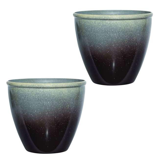 1606BP36 Suncast Seneca Ombre Decorative Planter Flower Pot, Bronze/Brown (2 Pack)